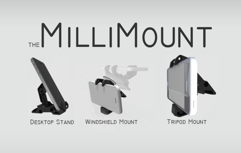 MilliMount Black - Tripod Mount, Windshield Mount and Stand for Iphone, Android & Ipod