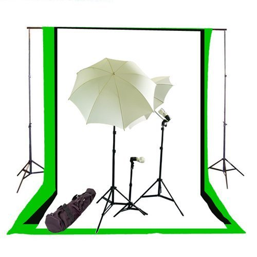 CowboyStudio Photography/Video Studio Triple Lighting Kit with 10 feet x 12 feet Black, White and Green Muslins Backdrops and Background Support System with Case